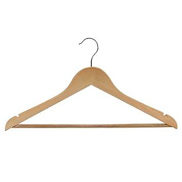 hangerworld lot de 10 cintres cintres classiques en bois barre pantalon antid rapante. Black Bedroom Furniture Sets. Home Design Ideas