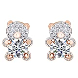 Cyber Monday Deals Round Cut Cubic Zirconia Tedy Bear Stud Earrings in 14K Rose Gold Over Sterling Silver (Color: Cubic Zirconia)