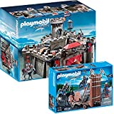 Playmobil Knights 2-parts Set 6001 Falcon Knights' Castle + 5978 Blue Knights with Battering Ram