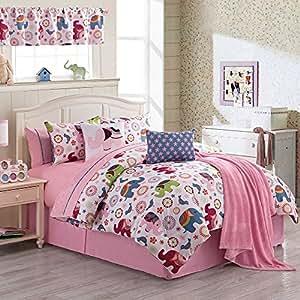 Teen girls elephant and birds animal print bedding reversible down twin comforter - Teen cheetah bedding ...