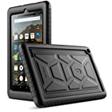 Poetic TurtleSkin Fire 7 2017 Rugged Case Heavy Duty Protection Silicone and Sound-Amplification feature Cover for All-New Amazon Fire 7 (7th Generation,2017 Release) Black (Color: Black)