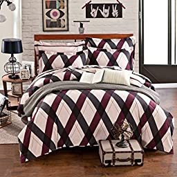HIGOGOGO Home Textiles 100% Cotton British Style Bedding Set 4 Pieces Checked Pattern Sheet Set Chocolate Color Duvet Cover Set Full Queen Size (Queen)
