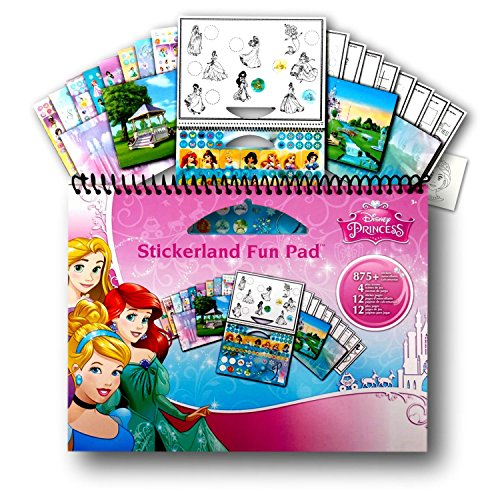 Disney Princess Large Activity Sticker Art Set (875 Stickers, 4 play Scenes, 12 Sticker Coloring Book Activity Pages)