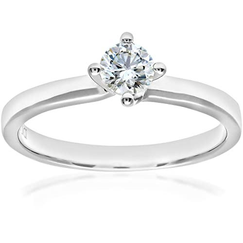 Naava 18ct White Gold Twist Head Engagement Ring, E/VS2 EGL Certified Diamond, Round Brilliant, 0.33ct