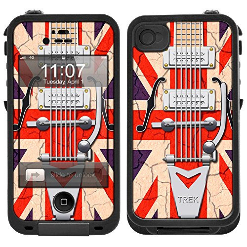 Skin Decal For Lifeproof Iphone 4 Case - Retro Electric Guitar Union Jack Flag