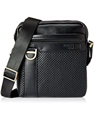 Pavers England Leather Black Messenger Bag (GABAG4205)