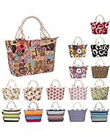 Samanthajane Womens Summer Canvas Beach Tote Holiday Bag