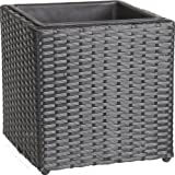 Gartenfreude 4000-1035-038 Plant Pot Polyrattan with Waterproof Plastic Insert for Indoor and Outdoor Use 28 x 28 x 28 cm Black