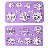 Multi Circle Flowers Lace Mat Wedding Cake Decoration Tool Flower Embossing Lace Fondant Moulds Cupcake Toppers Silicone Bake Molds for Cake Decorating, Arts, Crafts Set of 2 - By Sago Brothers