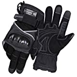 SCOYCO Waterproof Motorcycle Gloves,Touch Screen Thermal Cowhide Leather Carbon Fiber Shell Wear-resistant for Spring Touring Racing ATV (Black,XL) (Color: Black4, Tamaño: X-Large)
