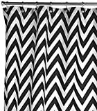 Kassatex Cortina Black and White Classic Chevron Fabric Shower Curtain
