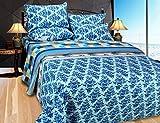 Hargunz cotton Double Bedsheet With 2 Pillow Covers-Blue(jaguar-fsy-blue)