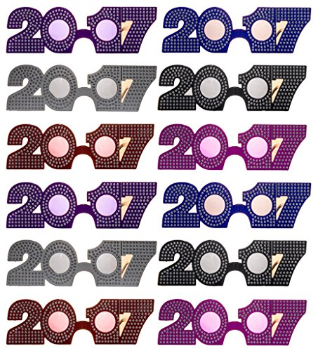 2017 New Years Eve Party Glasses (Solid Bling Bling) - 12 Pack