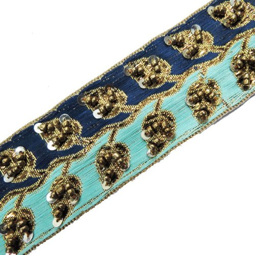 Copper Hand Bead Sequin Blue Cyan Ribbon Trim Craft 1 Yd