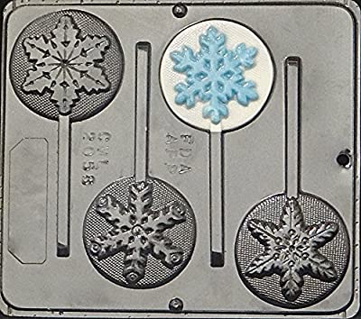 Snowflake Lollipop Plastic Chocolate Candy Mold 2058