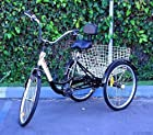 New 6-Speed 24 3-Wheel Adult Tricycle Bicycle Trike Cruise Bike W/ Basket - Blk