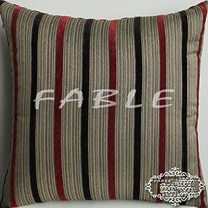 Amazon.com: Elegant Decorative Throw Pillow Cover - Burgundy, Deep Purple Stripes - Chenille ...