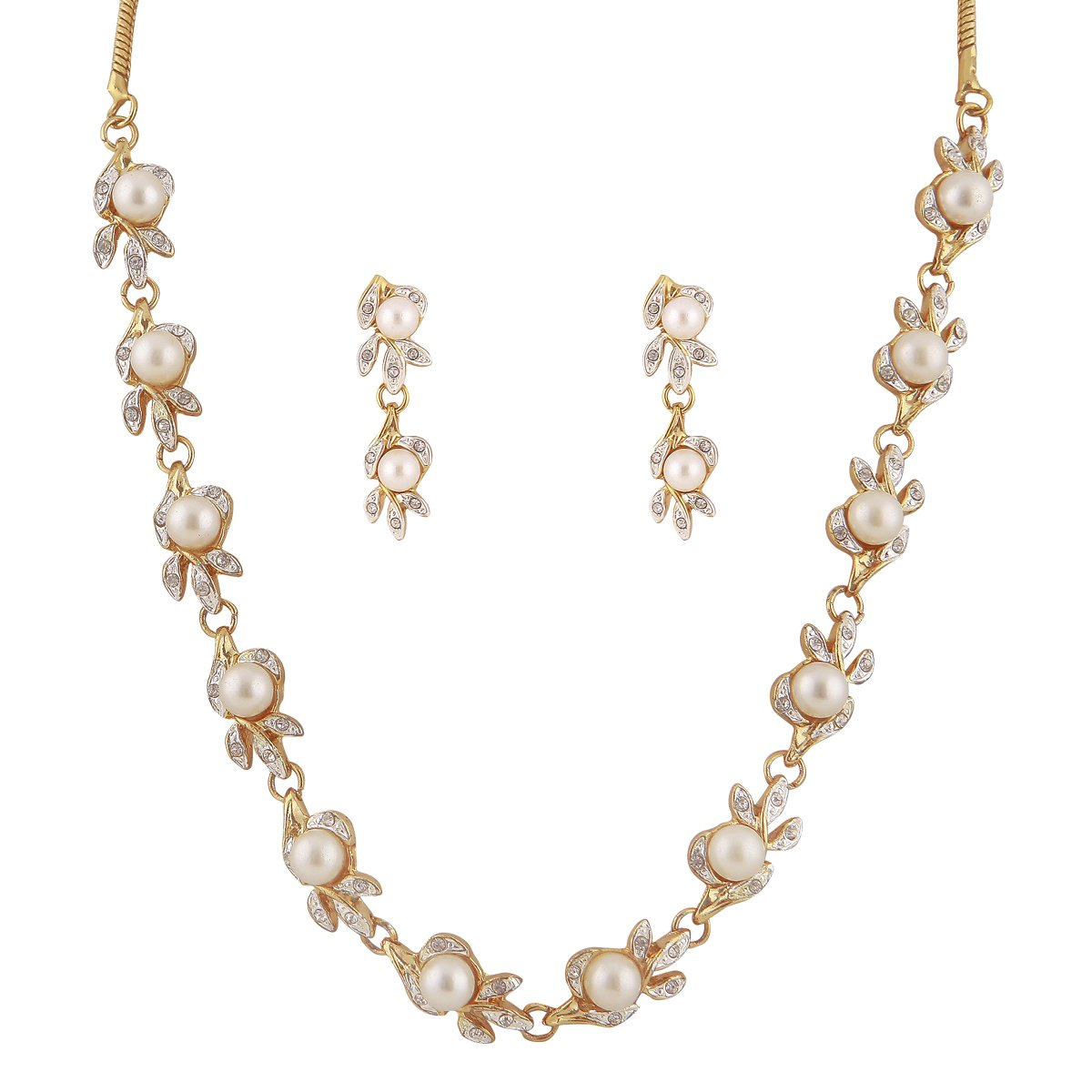 Sempre of London white pearl Sleek Neckalce set for women