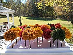 Fall & Autumn Trees For Wedding Centerpieces,Table Favors, Model Railroads, Doll House Landscape Scenery 4 Pc. Set