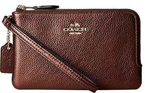 coach-womens-polished-pebbled-leather-double-corner-zip-bag-li-bronze-cell-phone-wallet