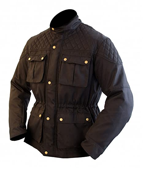 armr Moto Komura style rétro Veste Textile pour moto-noir