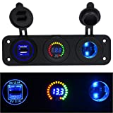 GBSELL Car Motorcycle Cigarette Lighter Socket + LED Digital Display Voltmeter + USB USB Charger For GPS Smartphone (Blue)