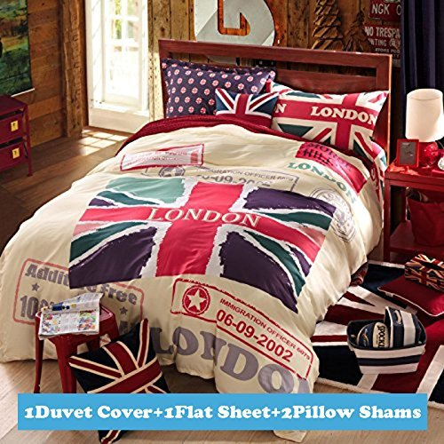 Ttmall Twin Full Size 100% Cotton Red White Lavender Green the Union Jack London Bedding Sets Duvet Cover Sets (Full , 4pcs Without Comforter) (British Duvet compare prices)