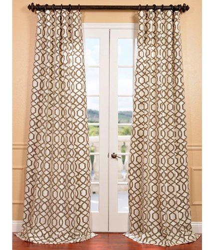 Filigree Pearl Flocked Faux Silk Curtain, 50X96