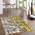 Rubber Backed Floral Damask Rugs and Runners - Rana Collection Kitchen Dining Living Hallway Bathroom Pet Entry Rugs