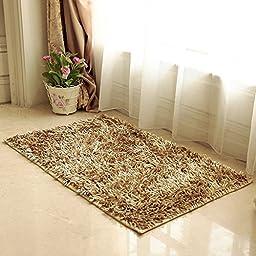 Pure Color Plush Non-slip Nats Bathroom Toilet Absorbent Doormat Kitchen Living Room Rug (Camel, L)