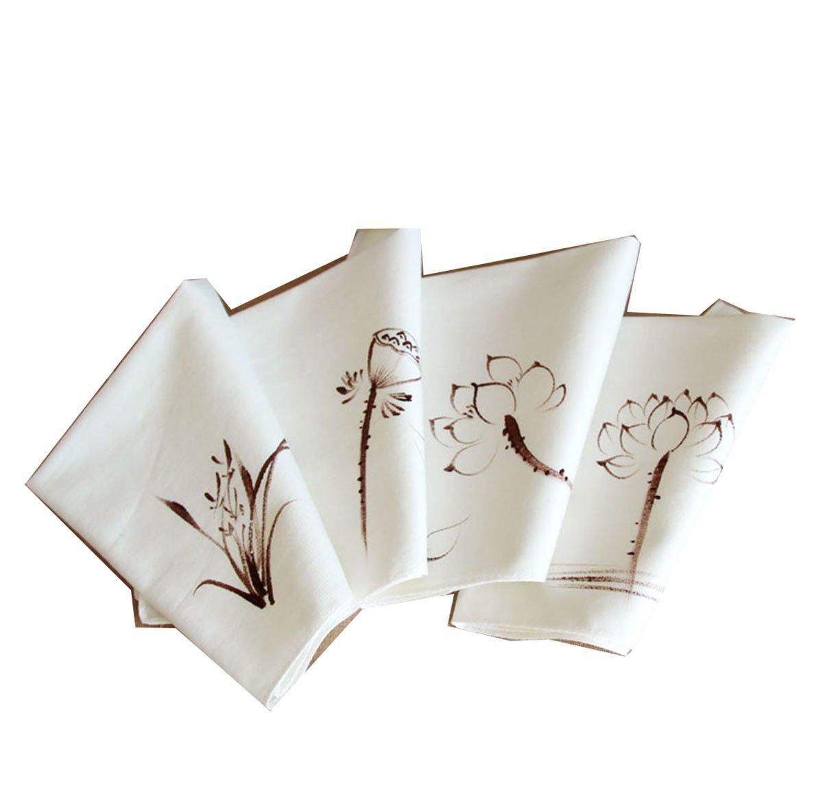 Ladies Chinese Antique Style Soft Cotton Linen handkerchiefs 0