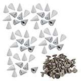 RDEXP DIY Decoration Leathercraft Shoes Cone Spikes Screwback Rivet Studs Pack of 50 (White) (Color: White)