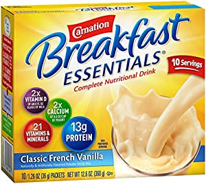 Carnation Breakfast Essentials, Classic French Vanilla Powder, 1.26 Ounce Envelope, 10 count, (Pack of 6)
