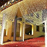 ZSTBT Linkable 304LED 9.84ft9.84ft/3m3m Window Curtain String Lights Icicle Fairy Lights Party Wedding Home Patio Lawn Garden Decorations (Warm White)