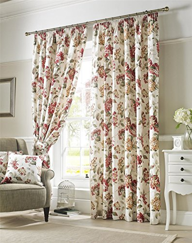 Homescapes Cream and Red Chintz Floral Curtain