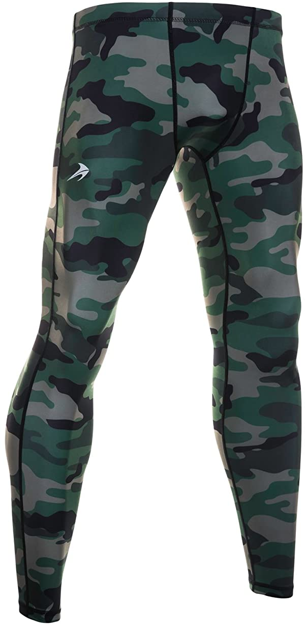 Men/'s Sports Camo Trousers Thermal Compression Tight Base Layer Pants Workout