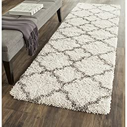 Safavieh Hudson Shag Collection SGH282A Ivory and Grey Runner, 2 feet 3 inches by 8 feet (2\'3\