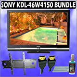 "Sony KDL-46W4150 46"" BRAVIA W-Series 1080p LCD HDTV & TILT Wall Mount & Accessory Kit w/ 3 Year Exte"
