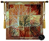[Free Shipping] Beautiful Fall View Tree Autumn Fine Tapestry Jacquard Woven Wall Hanging Art Decor (Yw60)