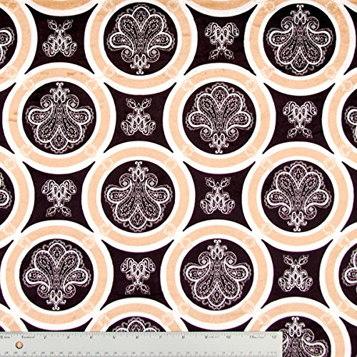 Minky Fabric De Lis Print In Caramel, Espresso Brown, And Natural - 10 Yards front-647954