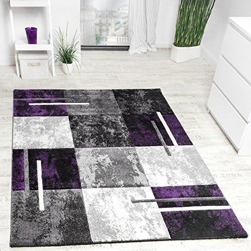 Designer-Teppich-Modern-Konturenschnitt-Meliert-Karo-Muster-Lila-Grau-Schwarz-Grsse160x230-cm
