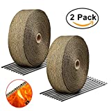 """Exhaust Wrap Titanium LIBERRWAY 2""""x50Ft Heat Wrap Tap Header Glassfiber for Car Motorcycle + 10 Stainless Ties 2 Pack"""