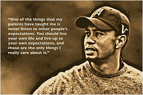 GOLF GREAT TIGER WOODS photo quote poster INSPIRATIONAL unique 24X36 hot NEW (Tiger Woods Photo compare prices)