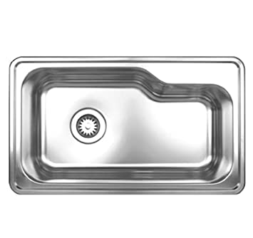 Whitehaus WHNDB3016-BSS Noah's Collection 33-1/2-Inch Single Bowl Drop-In Sink, Brushed Stainless Steel