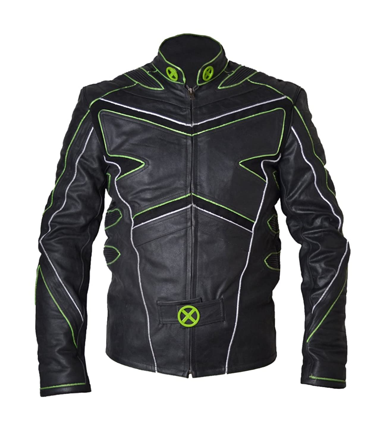 Xmen Wolverine Huge Jackman X Real Sheep Leather Jacket with Green Pipen