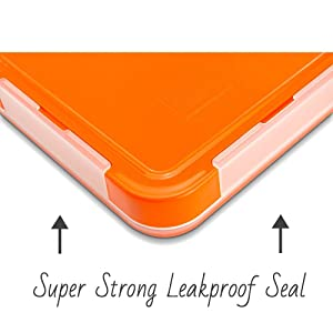 MunchBox Bento Lunch Box-Sleek Edition (Orange) Ultra-Slim Tray Style Leakproof 3-Compartment w/Air Tight Seal Microwavable-Dishwasher Friendly - for
