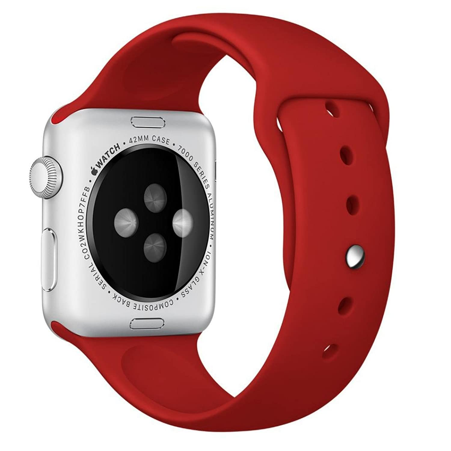 Apple Watch Band, Perman Sports Comfort Smooth Silicone Smart Watch Replacement Bracelet Strap Band Watchband for Apple Watch 38mm Red