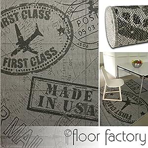moderner teppich air mail grau 120x170 cm topaktueller flachgewebe teppich f r drinnen und. Black Bedroom Furniture Sets. Home Design Ideas