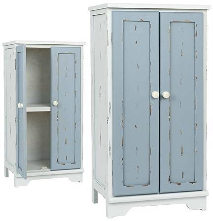 Clayre y fed 5H0096 armario madera blanco 37 x 29 x 73 cm aprox puertas azules