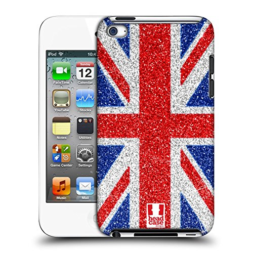 Head Case Designs Red and Blue Glitter Union Jack Collection Protective Snap-on Hard Back Case Cover for Apple iPod Touch 4G 4th Gen